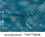 mechanical engineering drawings.... | Shutterstock .eps vector #744775828