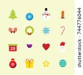 christmas flat icon set | Shutterstock .eps vector #744776044