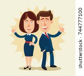 happy  successful businessman...   Shutterstock .eps vector #744777100