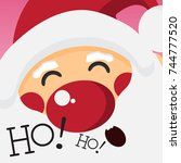 happy santa claus and laughing... | Shutterstock .eps vector #744777520