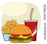 fast food hamburger drink and... | Shutterstock .eps vector #744779020
