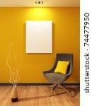 modern armchair and blank on... | Shutterstock . vector #74477950