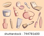 cosmetic products stylized... | Shutterstock .eps vector #744781600