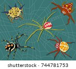 insect spider nature cartoon... | Shutterstock .eps vector #744781753