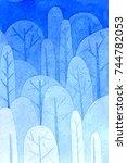 watercolor gradient tree pattern | Shutterstock . vector #744782053