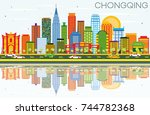 chongqing skyline with color... | Shutterstock .eps vector #744782368