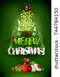 merry christmas inscription and ... | Shutterstock .eps vector #744784150