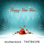 happy new year calligraphic red ... | Shutterstock .eps vector #744784198