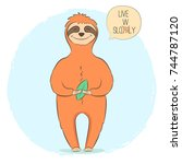 cute hand drawn sloth with leaf ... | Shutterstock .eps vector #744787120