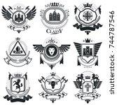 heraldic coat of arms...   Shutterstock .eps vector #744787546