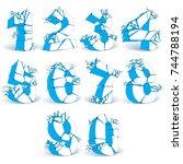 set of 3d vector digital... | Shutterstock .eps vector #744788194