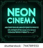 bright neon alphabet letters ... | Shutterstock . vector #744789553