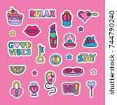 vector doodle girly party and... | Shutterstock .eps vector #744790240