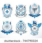 set of vector vintage emblems...   Shutterstock .eps vector #744790324