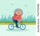 active senior. old age retired... | Shutterstock .eps vector #744790480