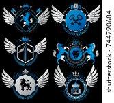 vector classy heraldic coat of... | Shutterstock .eps vector #744790684