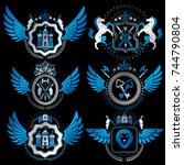 vector classy heraldic coat of... | Shutterstock .eps vector #744790804