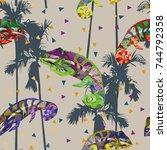 multicolor chameleon seamless... | Shutterstock .eps vector #744792358