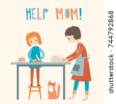 mom and daughter cooking... | Shutterstock .eps vector #744792868