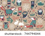 seamless pattern with winter... | Shutterstock .eps vector #744794044