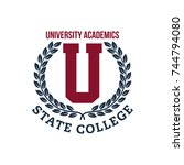 university  college and academy ... | Shutterstock .eps vector #744794080