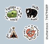 fun travel stickers and patches ... | Shutterstock .eps vector #744794089