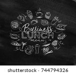 business lunch monogram with... | Shutterstock .eps vector #744794326