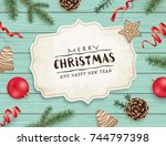 christmas flat lay design with... | Shutterstock .eps vector #744797398