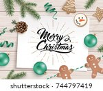 christmas flat lay design with... | Shutterstock .eps vector #744797419