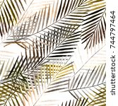 seamless tropical pattern .... | Shutterstock . vector #744797464