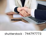 close up of business people... | Shutterstock . vector #744797773