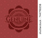genuine badge with red... | Shutterstock .eps vector #744798358