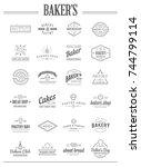 set of raster bakery pastry... | Shutterstock . vector #744799114