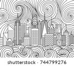 line art design of new york... | Shutterstock .eps vector #744799276