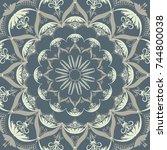 ornamental vector mandala. ... | Shutterstock .eps vector #744800038