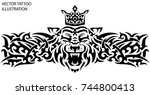 tribal tattoo tiger with crown... | Shutterstock .eps vector #744800413