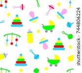 seamless baby pattern with toys ... | Shutterstock .eps vector #744806224