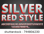 red silver   stylized typeset... | Shutterstock .eps vector #744806230
