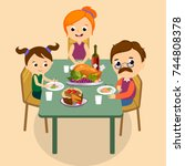 thanksgiving set  isolated... | Shutterstock .eps vector #744808378