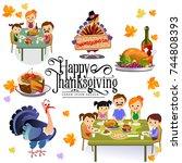 thanksgiving set  isolated... | Shutterstock .eps vector #744808393