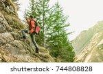 adventurous explorer trekking... | Shutterstock . vector #744808828