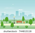 city park with wooden bench.... | Shutterstock .eps vector #744813118