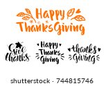 thanksgiving day quotes.... | Shutterstock .eps vector #744815746