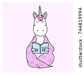 unicorn is reading a book | Shutterstock .eps vector #744819994