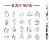 body pain and injury line icons ... | Shutterstock .eps vector #744820474