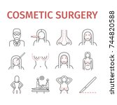 cosmetic surgery line icons set.... | Shutterstock .eps vector #744820588