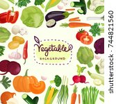 colorful vegetables including... | Shutterstock .eps vector #744821560