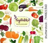 colorful vegetables including... | Shutterstock .eps vector #744821560