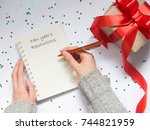 new year's resolutions concept. ... | Shutterstock . vector #744821959