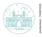 gate way of india mumbai... | Shutterstock .eps vector #744825220